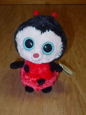 "Ty Beanie Boos Bugsy the Ladybug 6"" w/ Creased Tag Solid Eyes 2012"