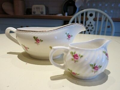 Portland pottery Cobridge 1957 gravy boat-pink rosebuds.Plus small cream jug .