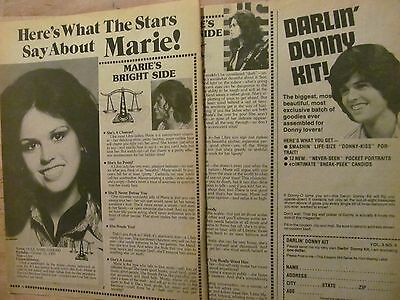 Marie Osmond, The Osmonds, Two Page Vintage Clipping