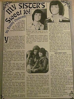 Marie Osmond, The Osmonds, Full Page Vintage Clipping