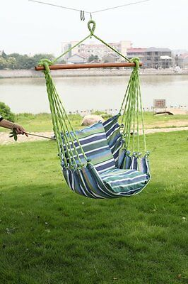 Hanging Seat Tree Hammock Swing Chair Camping Patio Outdoor Canvas Solid Wood