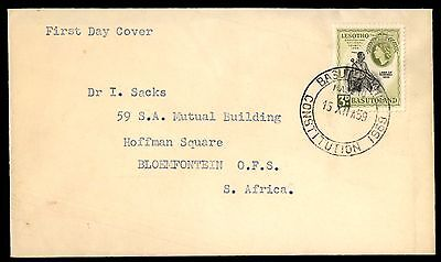 1959 Basutoland Constitution Postmark First Day Cover To S Africa