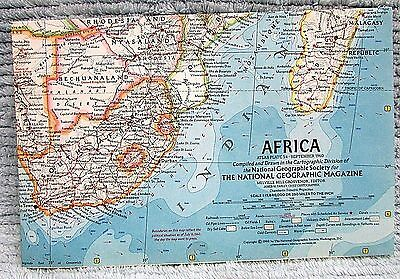 Old 1960 National Geographic Vintage Map Africa FREE S/H