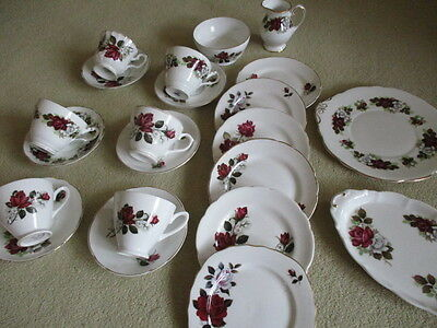 Vintage Red Rose English Bone china mismatched 21 piece tea set