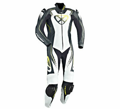 Ixon Starbust One Piece Motorcycle Leathers Black / White / Yellow RRP £599 Sale