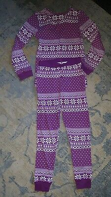 girls Marks and Spencer Purple winter print pyjamas age 7-8