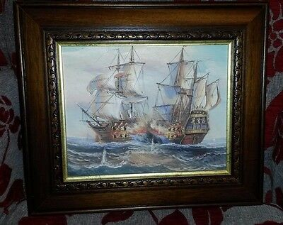 Nautical oil painting. Signed and framed