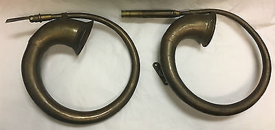 Set Of 2 Antique Brass Curled Car Horns