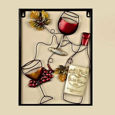 Red Wine Bottle Garden and Home Metal Wall Art