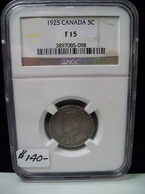 Key-Date 1925 Canadian Five cent. 5c. CANADA. NGC F15