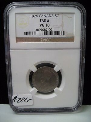 Key-Date 1926 (FAR 6) Canadian Five cent. 5c. CANADA. NGC VG10.
