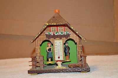 Bambi W Germany Black Forest Wood Cottage NR 50 Thermometer Weather Forecaster
