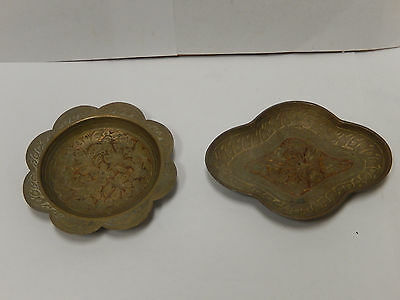 2 Vintage Brass small Coin Tip Dish Tray Ashtray