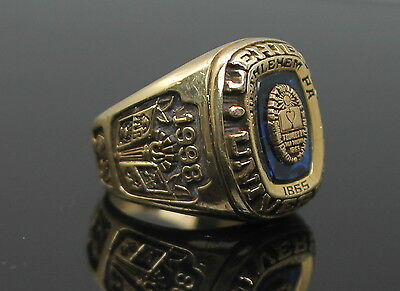Accr 1998 Lehigh University Solid 14K Yellow Gold Class Ring Size 9