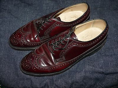 Vtg Florsheim Imperial Cordovan Wing Tip Leather Shoes 5 Nail V Cleat 8.5 D NICE