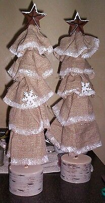 "Lot of 2 Burlap Home Decor Christmas Display Trees  23"" Vintage Country Holiday"