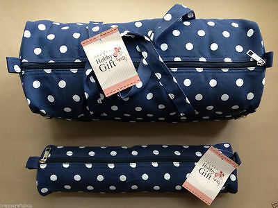 Knitting Bag Sewing Bags  Navy Spot. Soft Handled Bag & Cylindrical Case