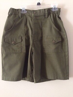 """Boy Scouts Of America Vintage Heavy Canvas Olive Green Shorts size 16 28"""""""