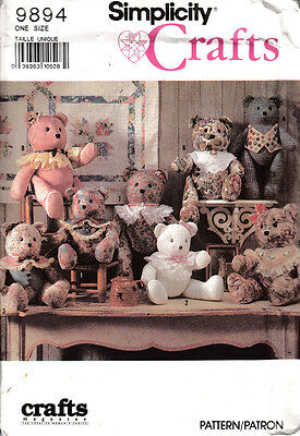 Simplicity Crafts Sewing Pattern  #9894 ~ Stuffed Bears In Two Sizes