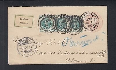 UK Stationery Cover uprated 1900 Leeds to Germany