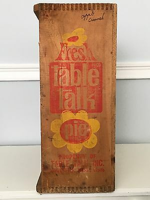 Vintage Table Talk Pie Wooden Crate Box Store Display Advertising