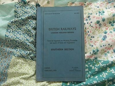 British Railway London Midland Region Sectional Appendix Southern Section 1975