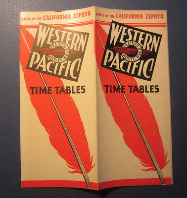 Old 1950 - WESTERN PACIFIC Railroad - TIMETABLES - California Zephyr TRAIN