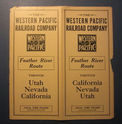 Old 1938 - WESTERN PACIFIC Railroad - TIMETABLES - Local Time Folder - CA NV UT