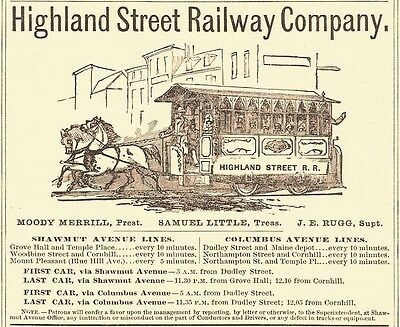 1878 Highland Street Railway Company, Boston, Massachusetts Advertisement