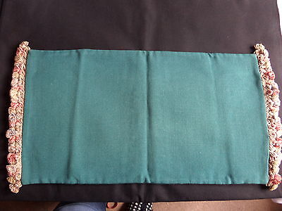 Vintage Long Cushion Cover.23 x 13 ins.Mid Green Corded Fabric.Fancy Fringing.