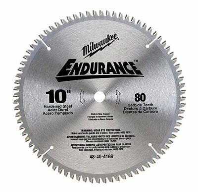 """NEW Milwaukee Endurance 80 Tooth ATB Saw Blade with Arbor - Size: 10"""" x 5/8"""""""