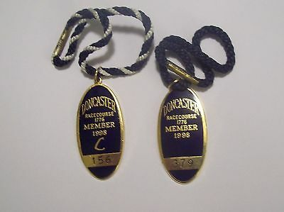 Pair of ANNUAL MEMBER'S BADGES ~ DONCASTER RACECOURSE 1998