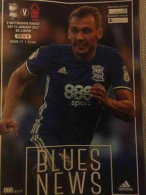 BIRMINGHAM CITY v NOTTINGHAM FOREST SATURDAY 14/01/2017 CHAMPIONSHIP PROGRAMME