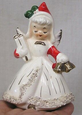 Vintage Christmas Angel Candle Holder Holds Bells Gift Spaghetti Art Trim 1950s