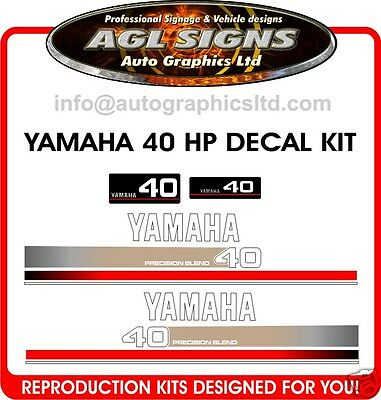 Yamaha 40 Hp Outboard Decal Kit, Precision Blend
