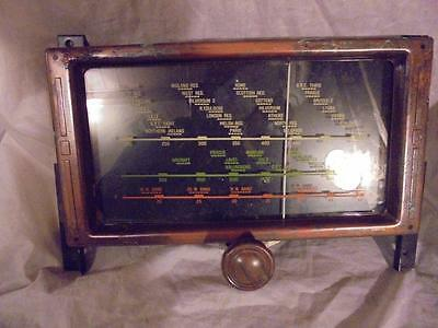 Vintage Unused Valve Radio Tuning Dial & Glass Front With Deco Metal Frame