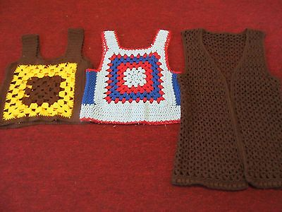 Lot of 3 Vintage '70s Crocheted Sweater Vests Asst Sizes
