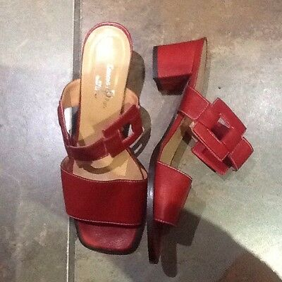 Ladies Italian Red Leather Backless Sandals (Size 6 EU 39)