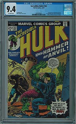 Hulk #182 Cgc 9.4 3Rd Wolverine In Cameo Off-White Pages 1974 Key Book 🔑