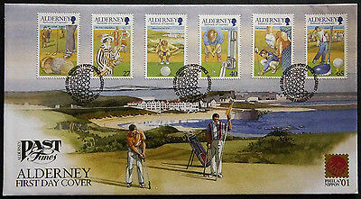 GB ALDERNEY 2001 30th ANNIVERSARY ALDERNEY GOLF CLUB SET 6 FDC