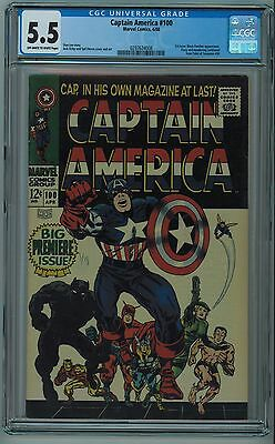 "Captain America #100 Cgc 5.5 ""1St Issue"" Kirby Art Ow/w Pages 1968"