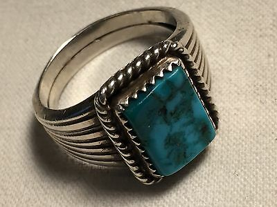 Turquoise Sterling Silver Men's Ring Vintage Navajo Size 11