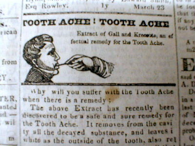 1837 Newburyport MASS newspaper w illustrated TOOTHACHE DROP AD Dentist TEETH