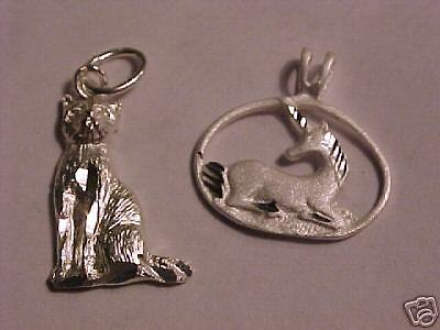 NEW Sterling Silver Kitty Cat  & Unicorn 4 Charms (330