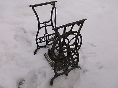 Antique Treadle Pedal Sewing Machine Cast Iron Base Cottage Brand