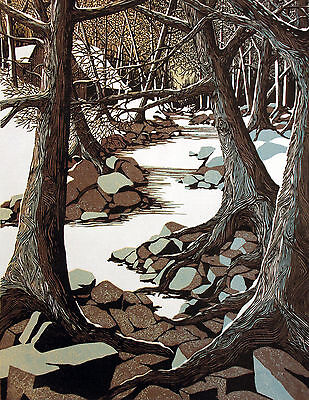 """Philip Smith """"Forgotten Hours"""" Hand Signed & Numbered Woodcut Art Print, forest"""