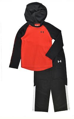 Under Armour Boys Red & Black L/S Thermal HoodieTop 2pc Pant Set Size 5
