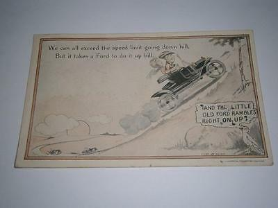 "ANTIQUE  POSTCARD Dated 1916 ""FORD"" And the little old Ford rambles right on up"