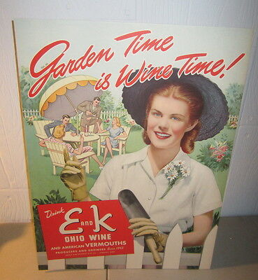 Old Vintage 1950's E and K WINE - Garden Time is Wine Time - ADVERTISING SIGN