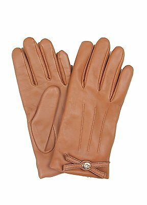 NWT $125 Coach Soft Leather Turnlock Bow Gloves Saddle Brown Size 7